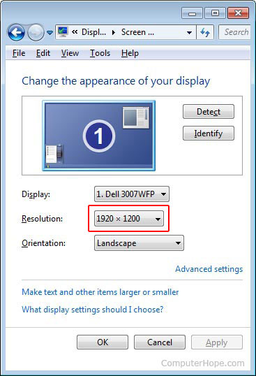 Windows 7 video resolution settings