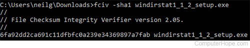 Running FCIV to calculate the SHA1 hash of the WinDirStat installer