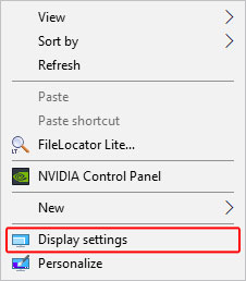The display settings option in the desktop drop-down menu.