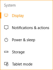 The display tab in Windows 10.