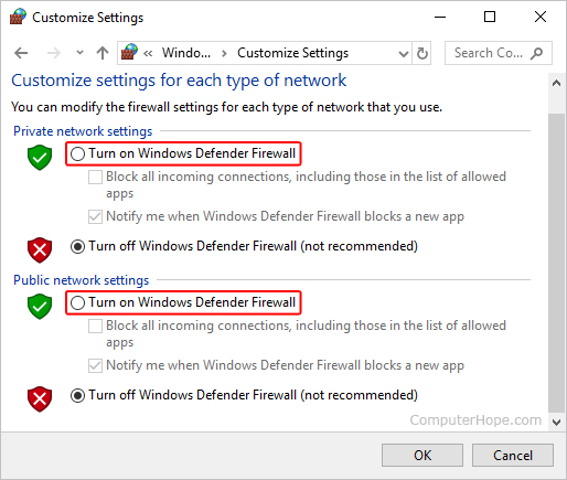 How to Enable or Disable the Microsoft Windows Firewall