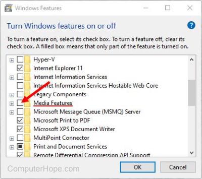 Deseleziona l'opzione Funzionalità multimediali nell'utilità Funzionalità di Windows