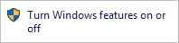 The link to turn Windows features on or off.