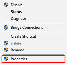 The network properties selector in Windows.
