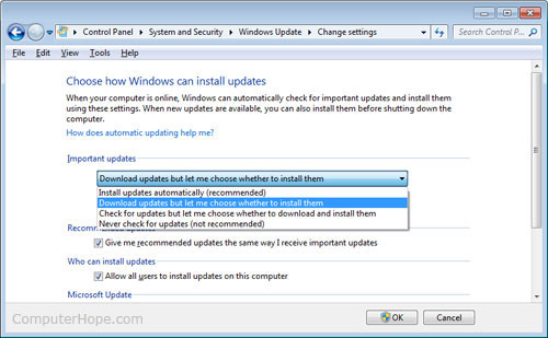 Enabling or Disabling Windows XP automatic updates.