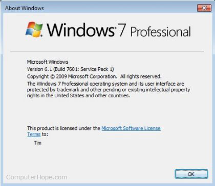 Windows 7 winver window