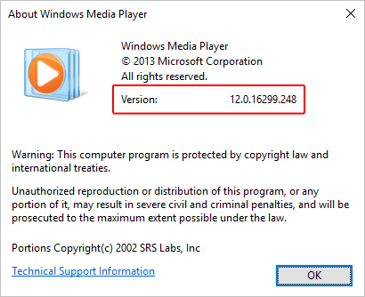 The window that shows which version of Windows Media Player is installed on a computer.