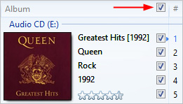 The option to check all songs in Windows Media Player.
