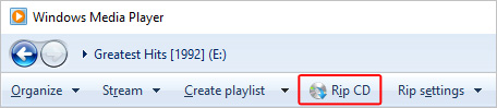 The Rip CD button in Windows Media Player.