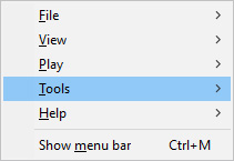 The tools selector in Windows Media Player
