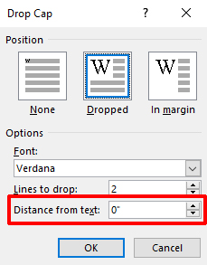 Word drop cap distance from text