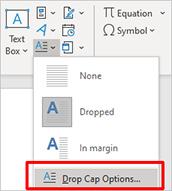 Word drop cap options