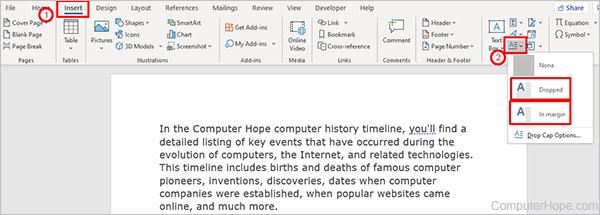 Microsoft Word Insert Drop Cap