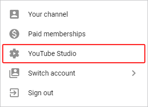 YouTube Studio selector