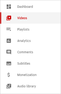 Pemilih Video YouTube Studio.