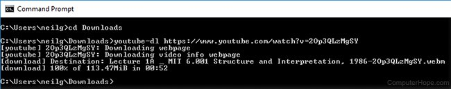 Screenshot: Running youtube-dl at the Windows command line.