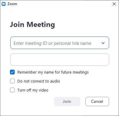 Enter meeting ID to join a Zoom meeting