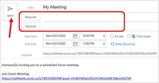 Send invite for a scheduled meeting on a computer