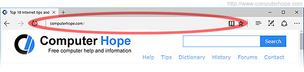 The address bar in the Microsoft Edge browser, running on Windows 10