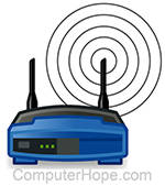 Illustration of Wi-Fi router broadcasting its SSID