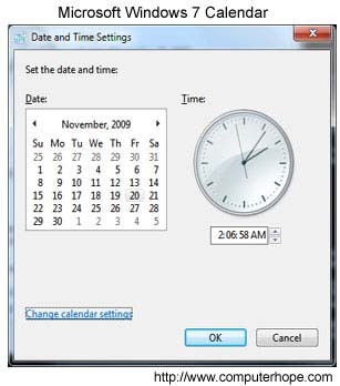 Windows 7 calendar