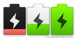 Low, medium, and full-charge battery icons.