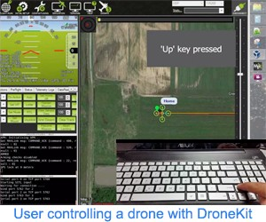 User controlling a drone with DroneKit. Source: https://www.youtube.com/watch?v=cZ0f1TTmSZM