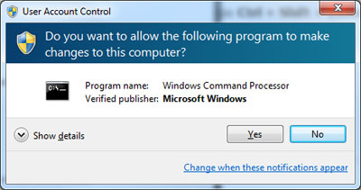 Elevated command prompt window