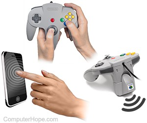 Two examples of haptic feedback devices: an Apple smatphone, and a Nintendo 64 controller with a Rumble Pak.