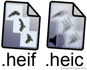 Illustration: HEIF and HEIC file format documents.