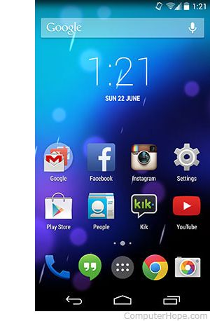 Android smartphone home screen