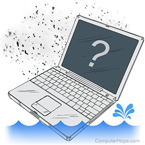 Illustration: A laptop surrounded by dust and water.