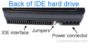 Jumpers on back of IDE hard drive