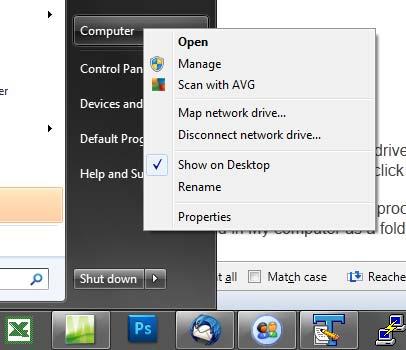 Risorse del computer tramite il menu Start di Windows