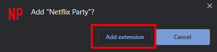 Netflix Party add extension