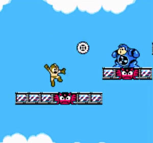 A screenshot from Mega Man, a classic example of a platformer.