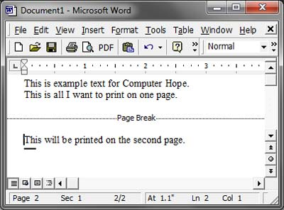 How to insert a page break in Microsoft Word and OO Writer