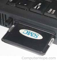 PC Card or PCMCIA slot and card