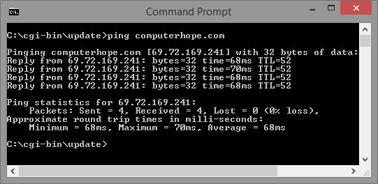 Windows command line ping results