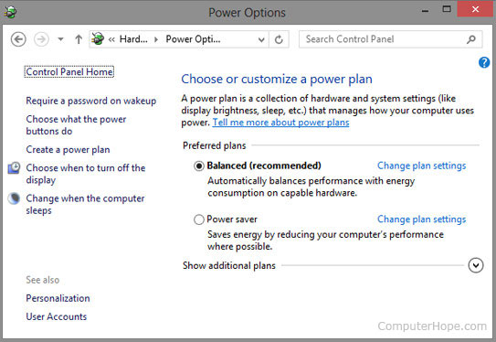 Best power options for laptop