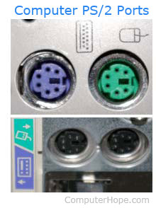 Pictures of computer green and purple PS/2 ports.
