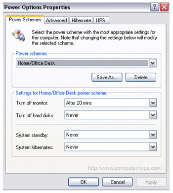 Windows XP power options