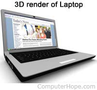 3D render of laptop computer