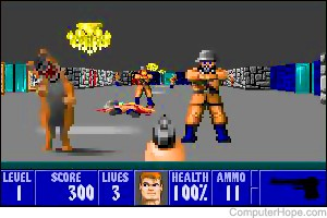 Screenshot: Wolfenstein 3D, released in 1992.
