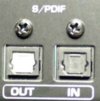 S/PDIF connection on back of audio equipment