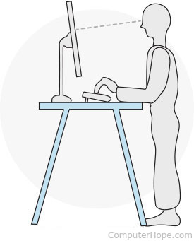 Illustration of a user working at a standing desk
