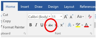 Strikethrough icon in Word 2007 and later