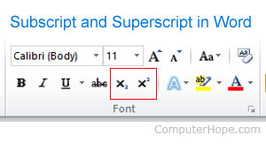 Subscript in Microsoft Word