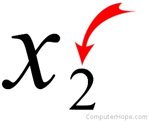 Example of subscript (x sub two).