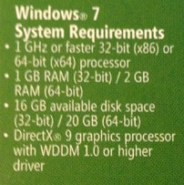 Windows 7 system requirements